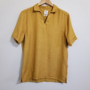 Zara Mustard Relaxed Fit Blouse Size M